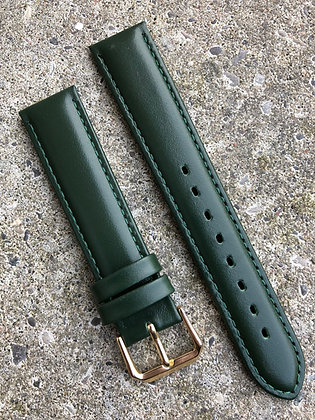 18mm Dark green stitching strap