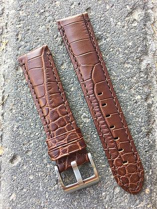 20mm Croco grain Stitch Brown strap