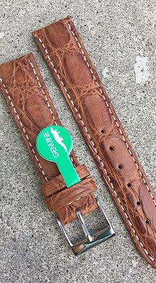 18mm Genuine Alligator Skin light brown strap
