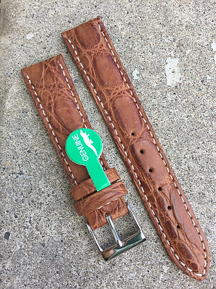 18mm Genuine Alligator Skin light brown strap