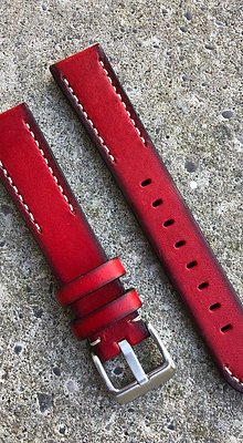 20mm Hand painted leather Red