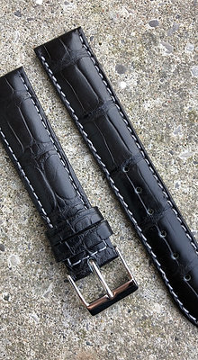 18mm Genuine Alligator Skin black strap