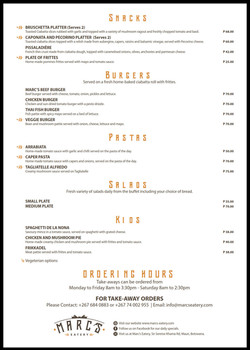 Marc's Eatery Take-Away Menu2