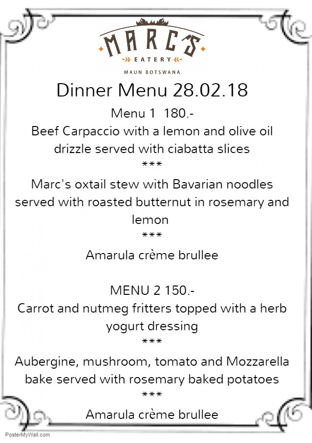 Marc's Eatery Valentines Dinner Menu 14.02.2018