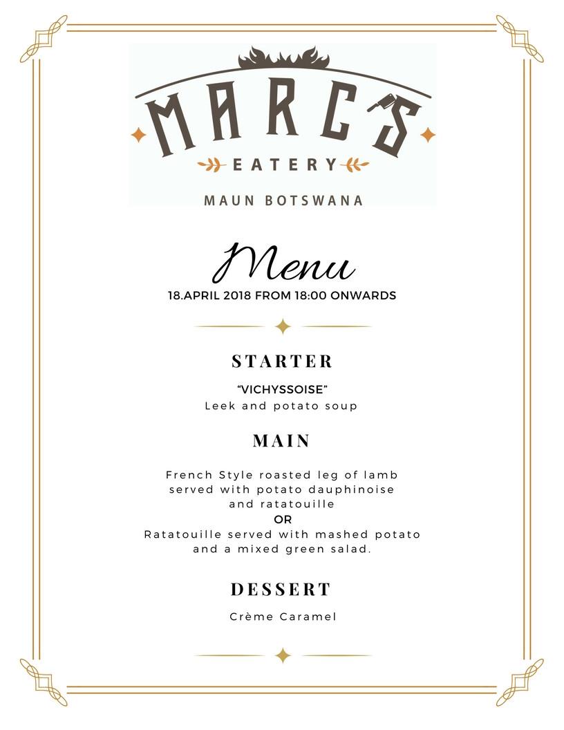Mid-Weeks Menu at Marc's Eatery