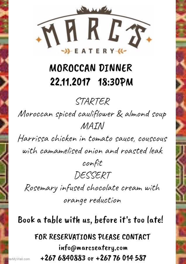 Marc's Eatery Moroccan Dinner 22.11.17