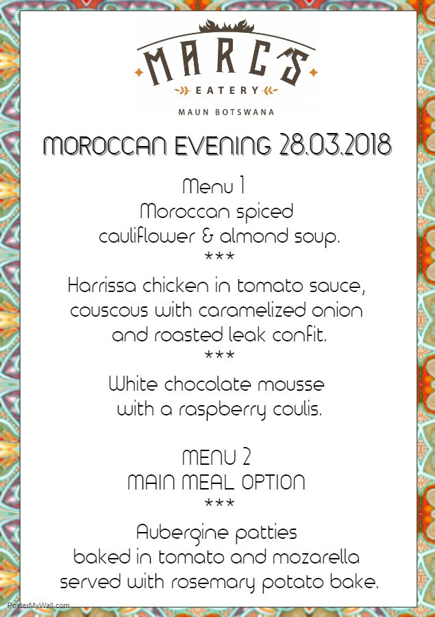 Morocco meets Maun Menu at Marc's Eatery