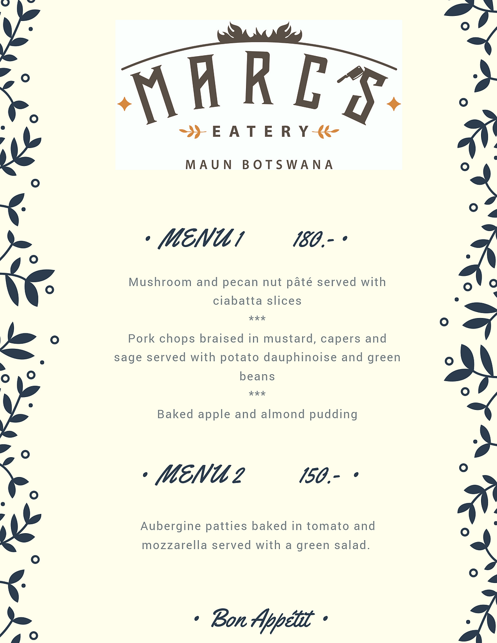 Wednesday Dinner Menu at Marc's Eatery