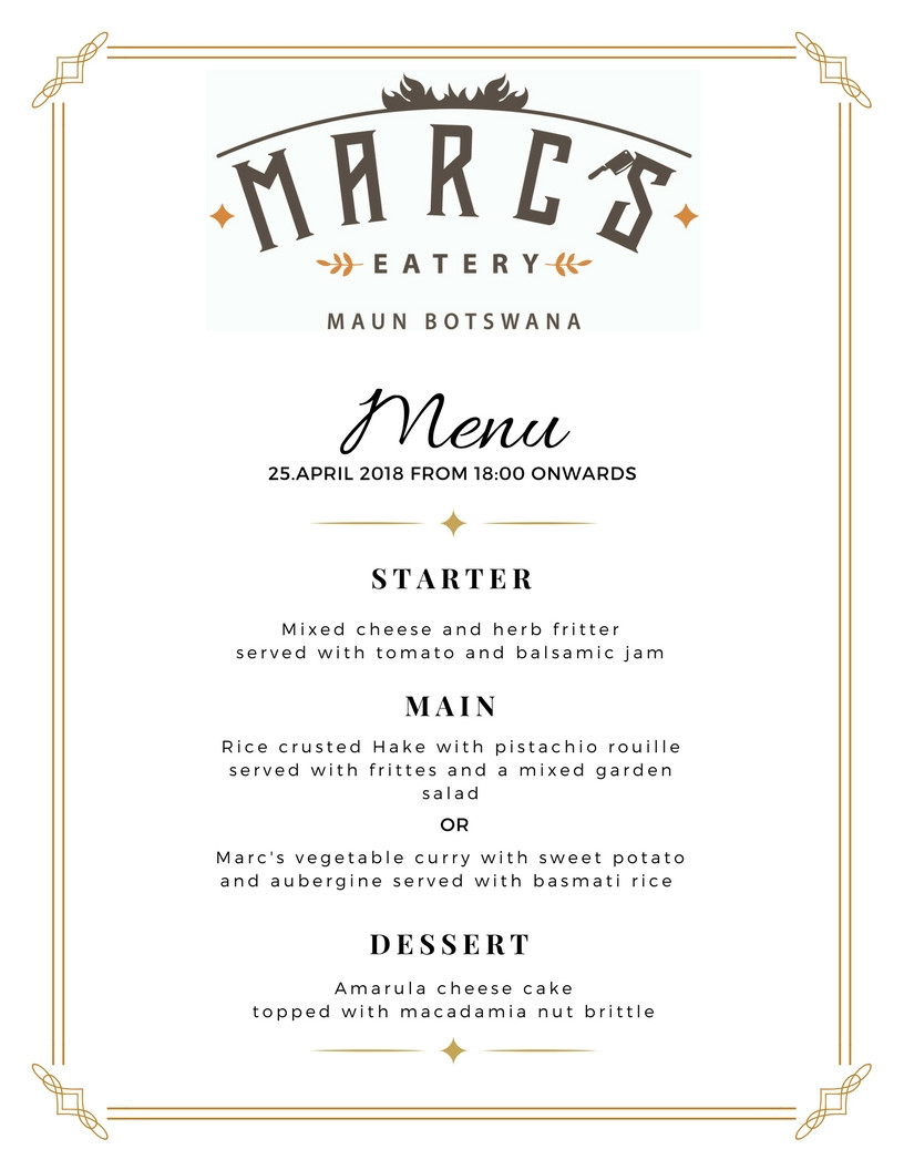 Wednesday Dinner Menu at Marc's Eatery 25.04.2018