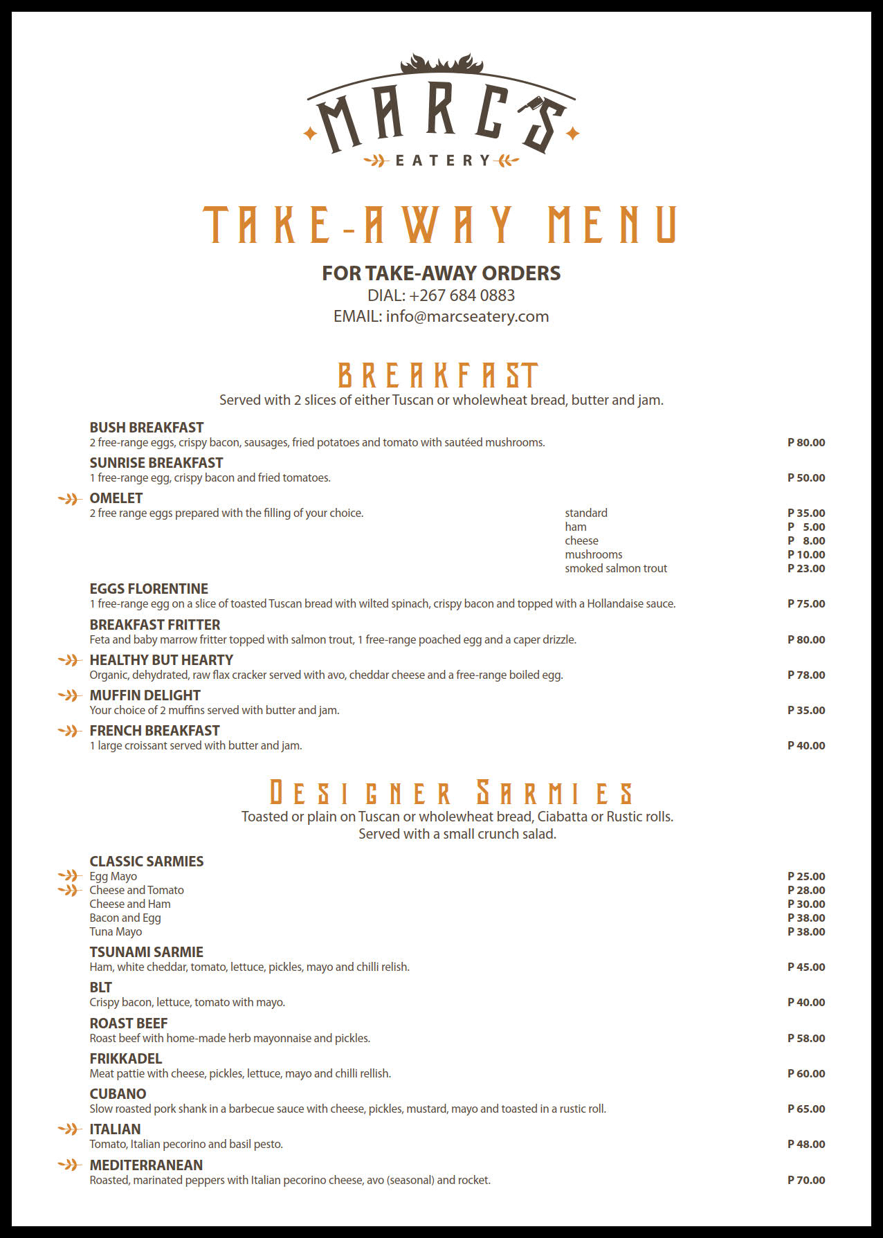 Marc's Eatery Take-Away Menu1