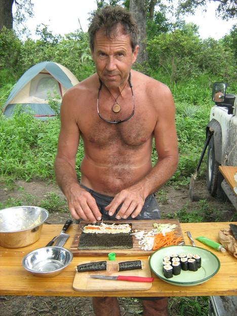 Marc making Sushi in the bush