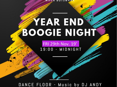 YEAR END BOOGIE NIGHT AT MARCS EATERY 29th Nov. 19'