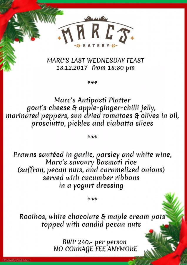 Marc's Eatery last Wednesday feast 13.12.17