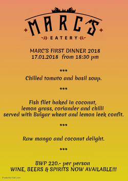 Marc's first Dinner 2018