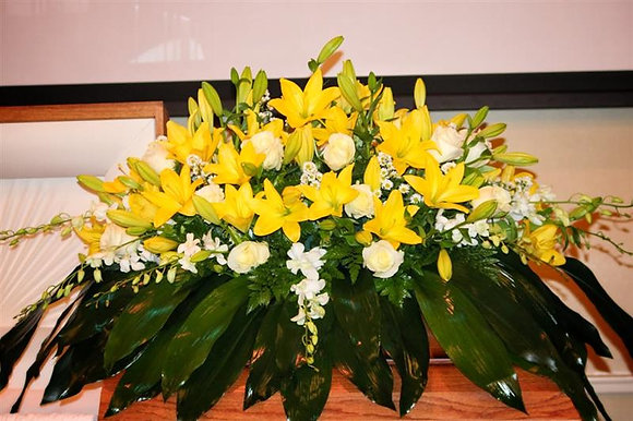 Yellow Lilies & White Orchids Casket