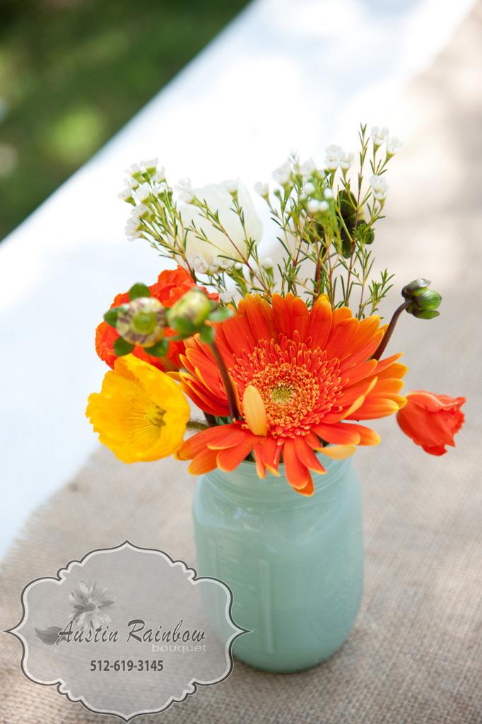 Poppies in Mason Jar