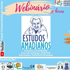 Portuário Atelier Editorial realiza, em parceria com UNEB e UEFS, o WEBINÁRIO ESTUDOS AMADIANOS