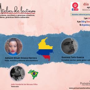 La poeta activista afrocolombina Ashanti Dinah Orozco y el periodista Gustavo Tattis en el Atelier
