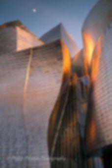 Guggenheim Museum exterior at sunset, Bilboa, Spain