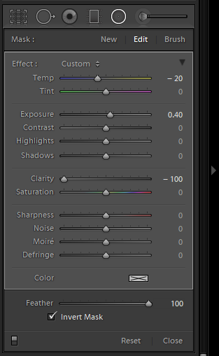 Lightroom brush tool panel for photo blog - Philip Preston photography