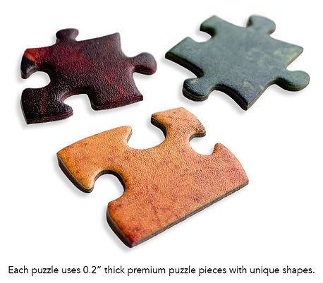 Philip Preston premium jigsaw puzzles are made from 0.2 inch premium paper stock, and include a semi gloss coating on the top surface to make the colours pop.