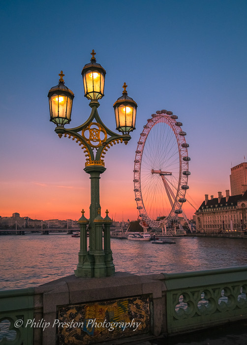 London sunset, featuring Westminster bridge and the London Eye.