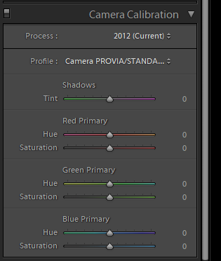 Lightroom Camera Calibration panel for photo blog - Philip Preston photography