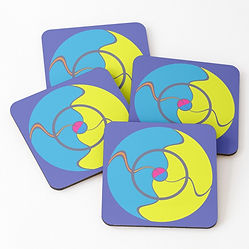Coasters designed by Philip Preston, available at his Redbubble store.