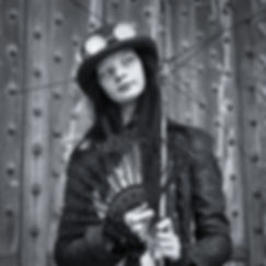 Female steampunk at annual Lincoln Steampunk Festival, UK