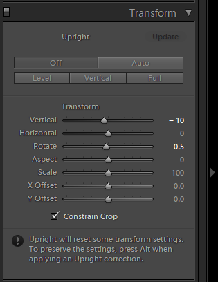 Lightroom Transform panel for photo blog - Philip Preston photography