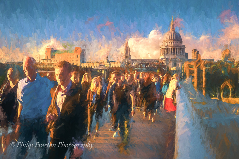A photograph with added paint effects, Millenium Bridge, London, UK - Philip Preston photoart photography