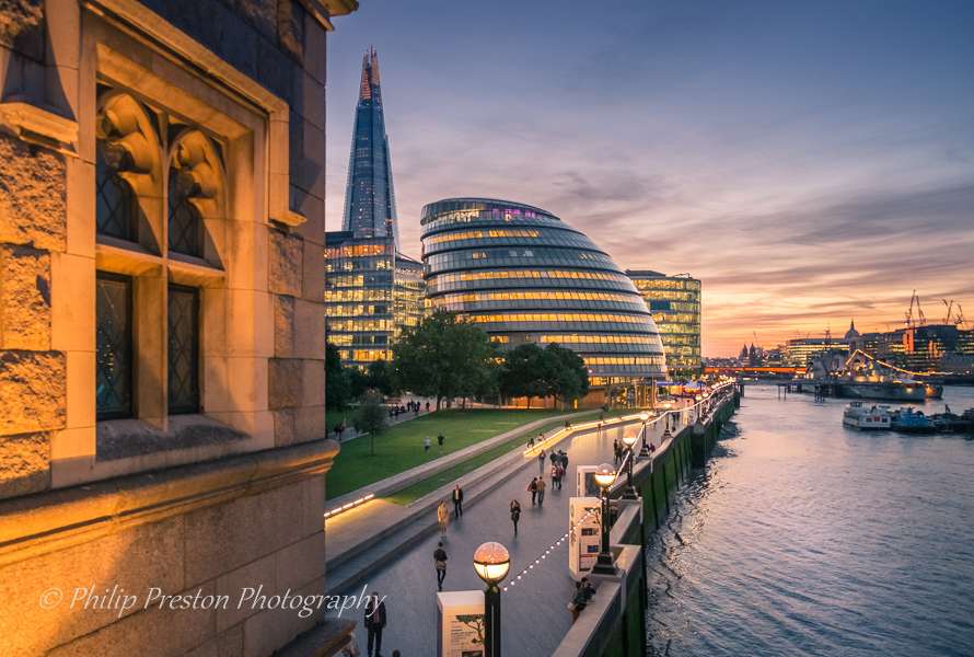 Sunset, City Hall, London