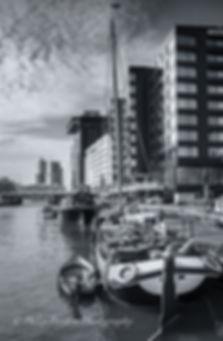 Monochrome photograph of Leuvehaven harbour, Rotterdam, The Netherlands.