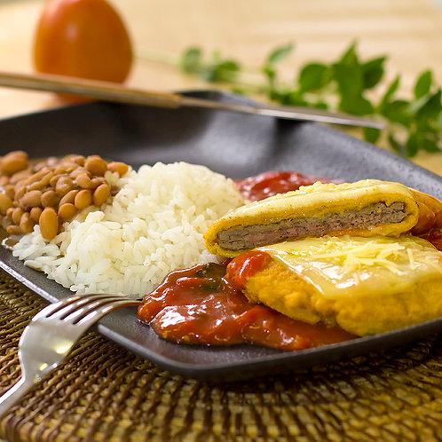 Bife à Parmegiana, Arroz e Feijão