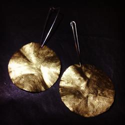 Tanja_ brass hammered earrings