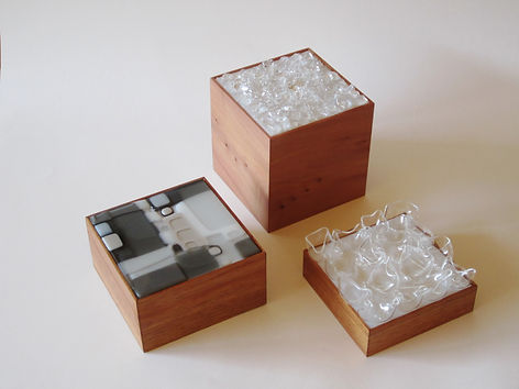 Three light boxes - Christine Hannan and