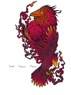 Two phoenixes together, one rising in flight while the other boldly stands.