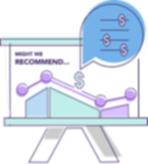 Dynamic pricing revenue graph with dollar signs in a speech bubble.
