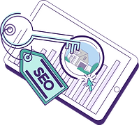 SEO represented as a key unlocking an increase in a property's website traffic, search ranking, and revenue.