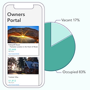 JANIIS vacation rental owners' portal on mobile showing increasing YTD payouts and property occupancy