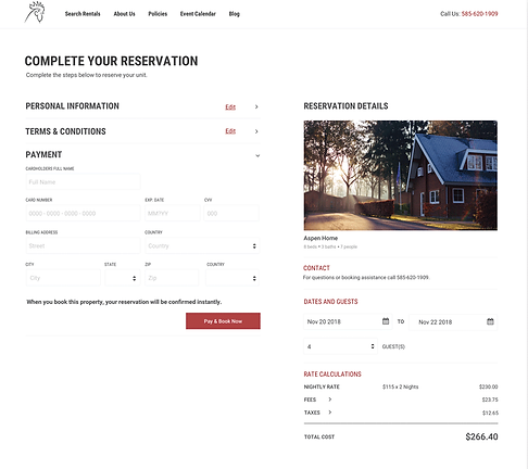A screenshot of a guest booking their vacation rental reservation on a clean, simple property management company's website