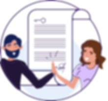 A property manage and owner high fiving in front of a contract