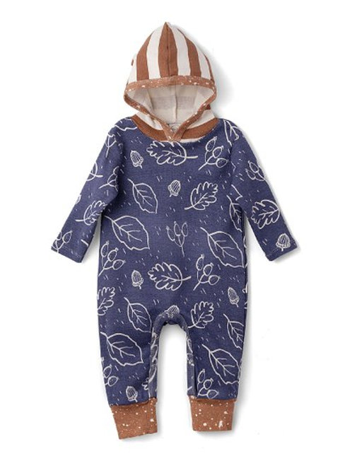 Ivory & Pecan Fall Hooded Romper, Boys