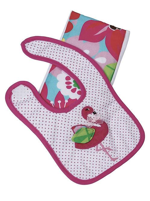 Fannie the Flamingo Boxed Bib & Burp Gift Set