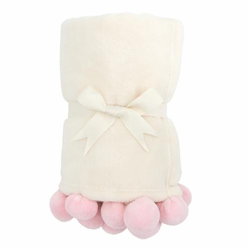 Pink Pom Trim Fleece Stroller Blanket