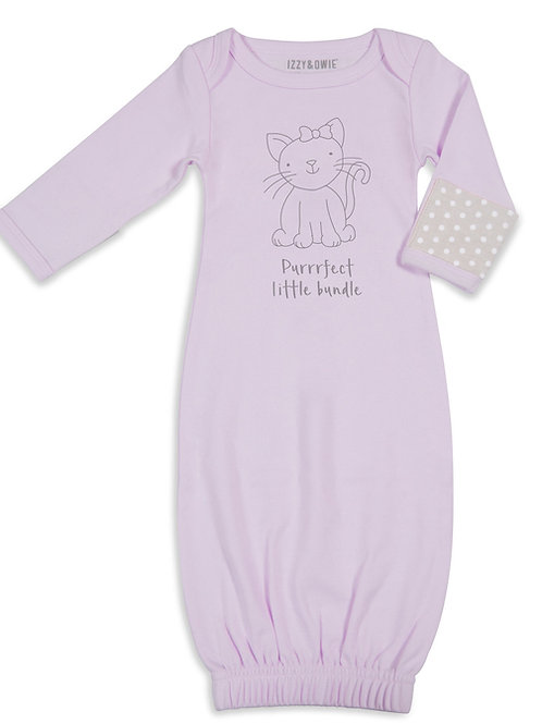 Purrrfect Little Bundle - Purple Kitty Soft Baby Girl Gown