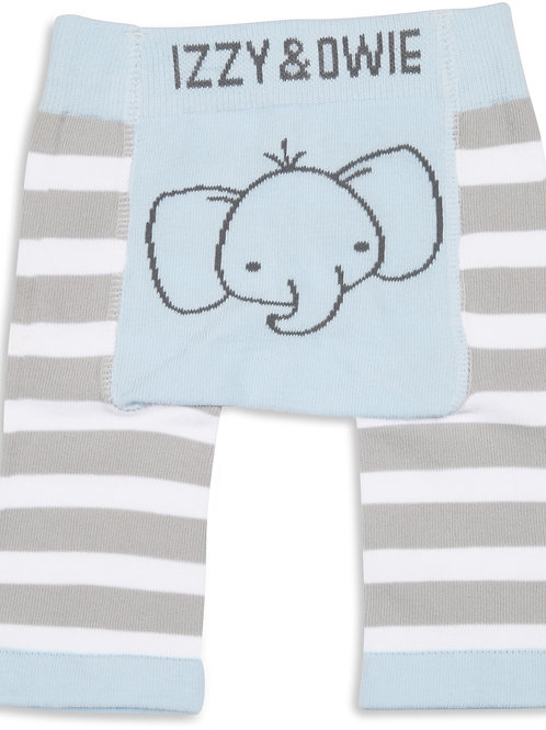 Blue Striped Elephant Baby Leggings
