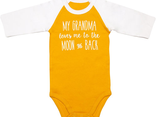 Moon and Back - 6-12 Months 3/4 Length Sleeve Mustard Onesie