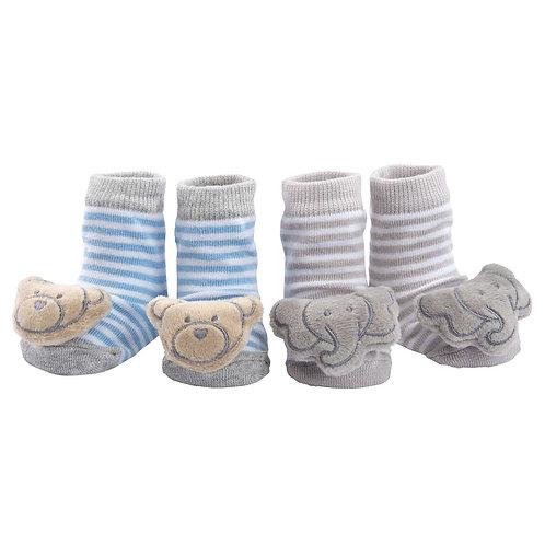 Baby Socks Rattle Bear/Elephant, Gray/Blue, 2 Pack