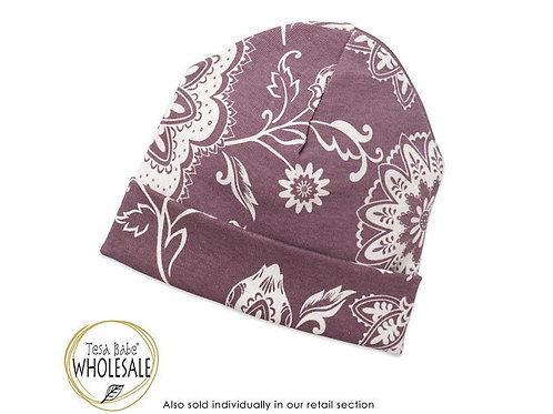 Purple and White Floral Hat, 0-3 months